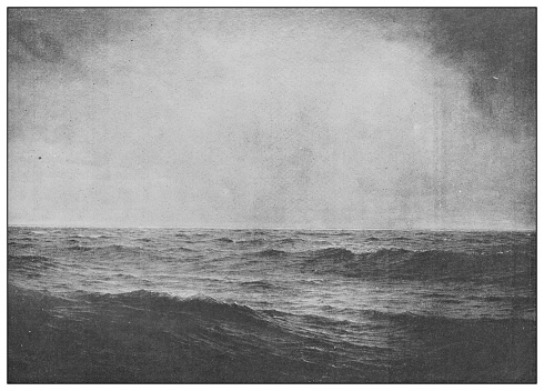 Antique famous painting from the 19th century: Old ocean's gray and melancholy waste by William T Richards