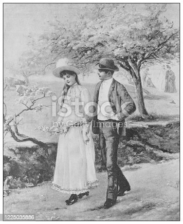 istock Antique famous painting from the 19th century: The Easter vacation by A Weiss 1225035886