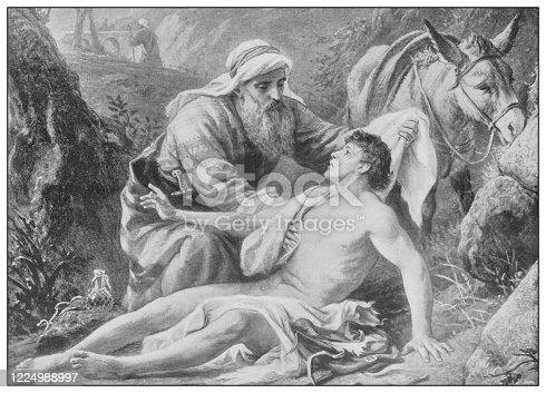 istock Antique famous painting from the 19th century: The good Samaritan by B Plockhorst 1224988997