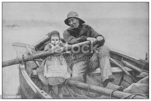 istock Antique famous painting from the 19th century: The helping hand by Emile Renouf 1225050092