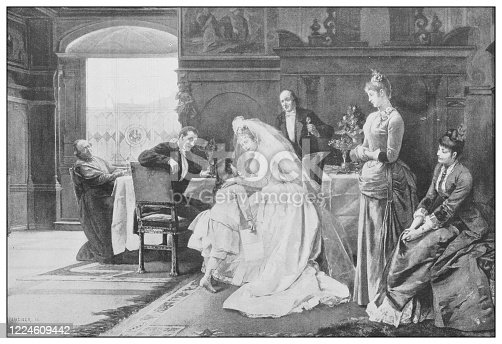 istock Antique famous painting from the 19th century: The new mamma by J Weiser 1224609442