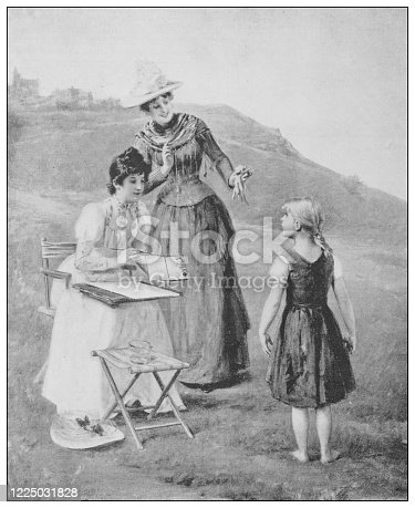 istock Antique famous painting from the 19th century: The new model by A Weiss 1225031828