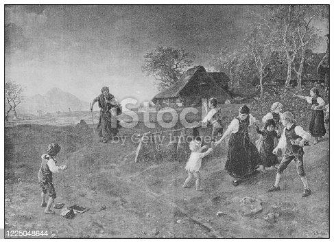 Antique famous painting from the 19th century: The village witch by Ludwig Knaus