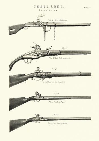 Antique firearms, guns, rifles, matchlock, arquebus, fowling piece