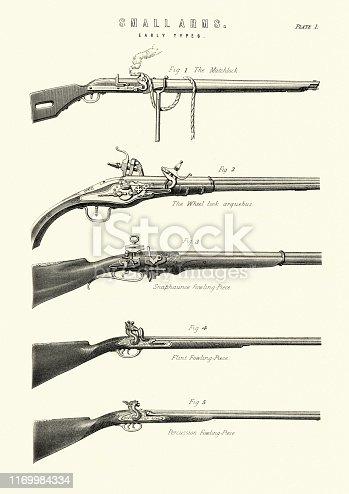 Vintage engraving of Antique firearms, guns, rifles, matchlock, wheel lock arquebus, fowling piece