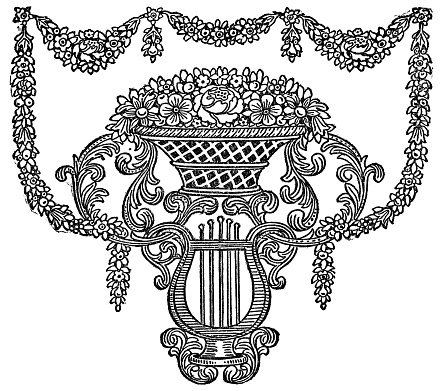 Antique Floral Design with harp