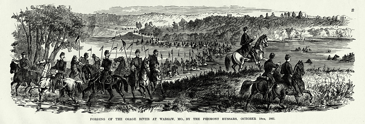 Antique: Fording of the Osage River at Warsaw, Missouri by the Fremont Hussars, October 18, 1861 Civil War Engraving
