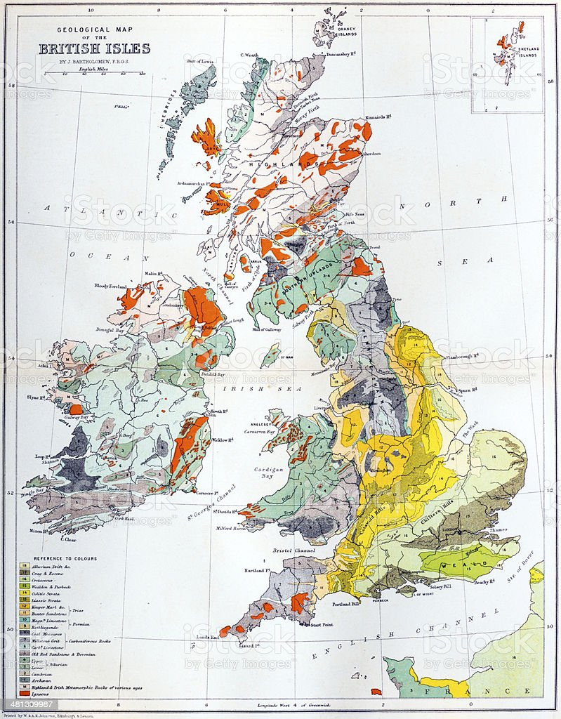 Antique geological map of Britain vector art illustration