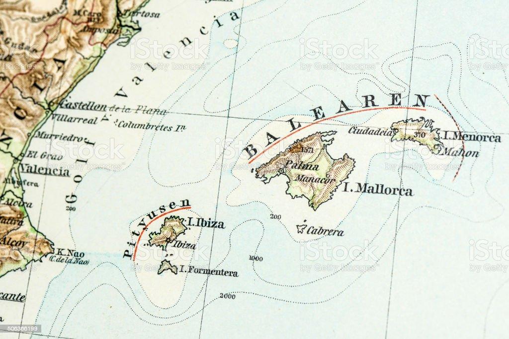 Antique German atlas map close up: Balearic Islands royalty-free stock vector art