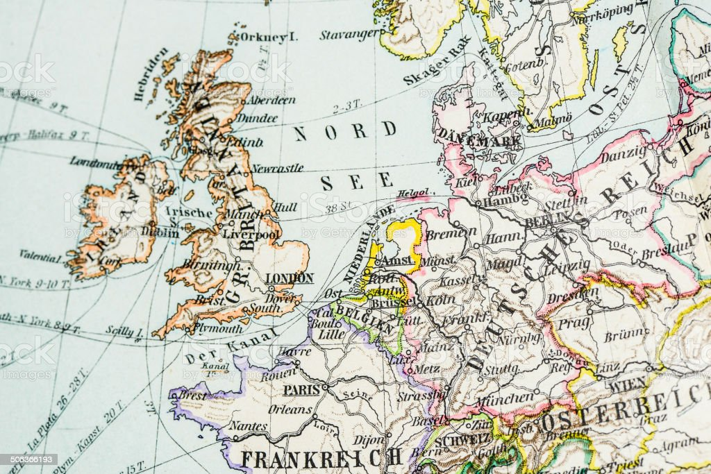 antique german atlas map close up central western europe royalty free antique german