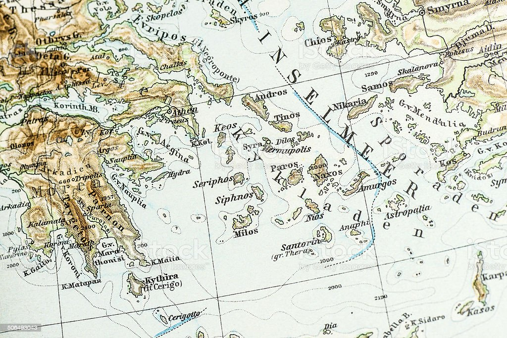 Antique German atlas map close up: Greek Islands royalty-free antique german atlas map close up greek islands stock vector art & more images of 19th century style