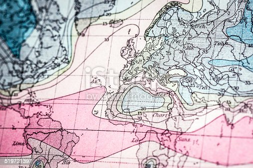 Antique German atlas map close up: isotherm curves