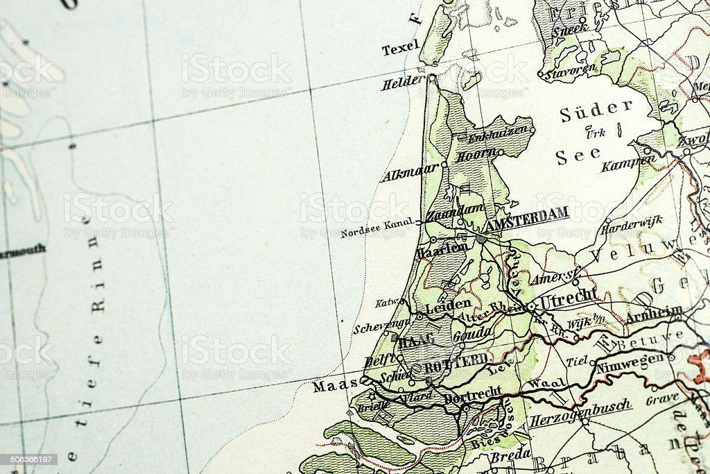 Antique German atlas map close up: Netherlands royalty-free stock vector art