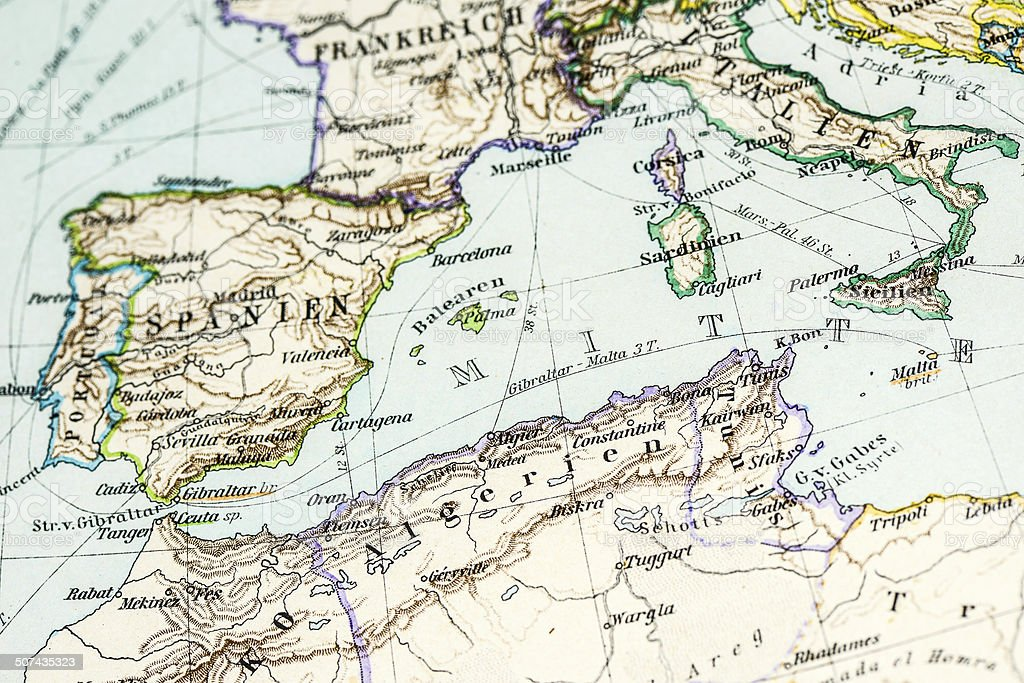 Picture of: Antique German Atlas Map Southern Europe And North Africa Stock Illustration Download Image Now Istock