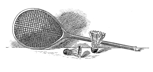 Antique hobbies and sports illustration: Badminton
