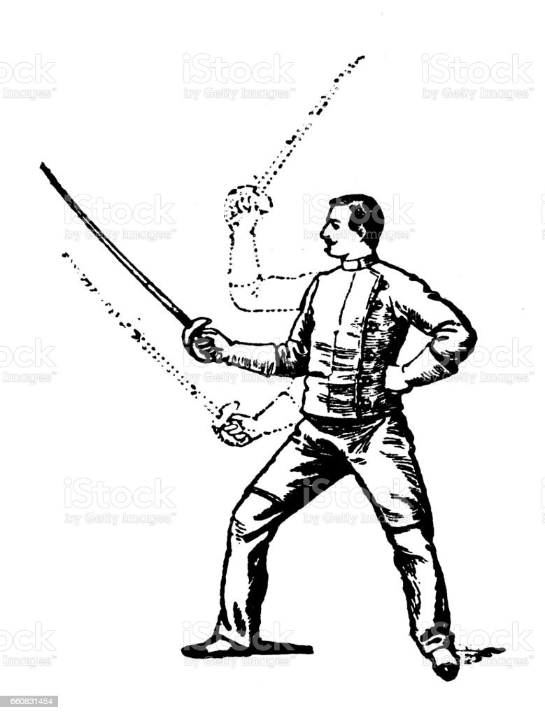 antique hobbies and sports illustration sword fencing singlestick