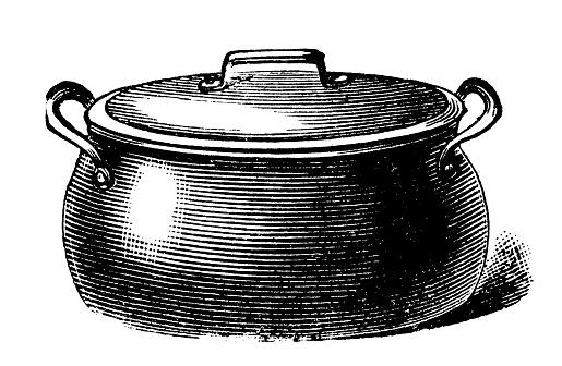 Antique household book engraving illustration: Boiling pot