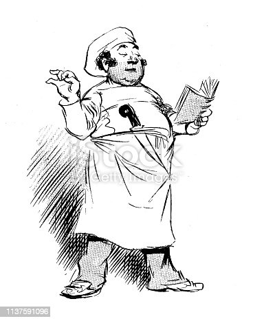 Antique humor cartoon illustration: Chef reading book