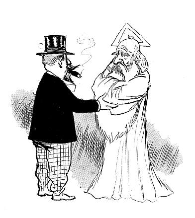 Antique humor cartoon illustration: God and businessman talking