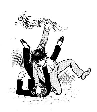 Antique humor cartoon illustration: Music fight