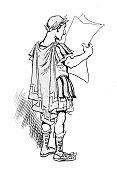 istock Antique humor cartoon illustration: Roman reading newspaper 1137588624