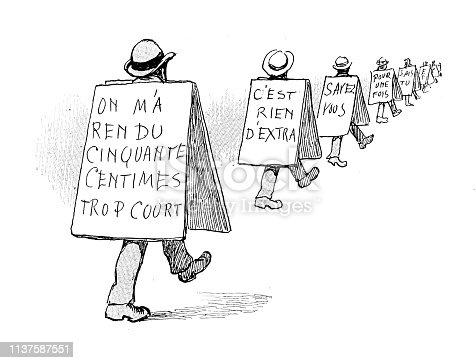 Antique humor cartoon illustration: Sign men