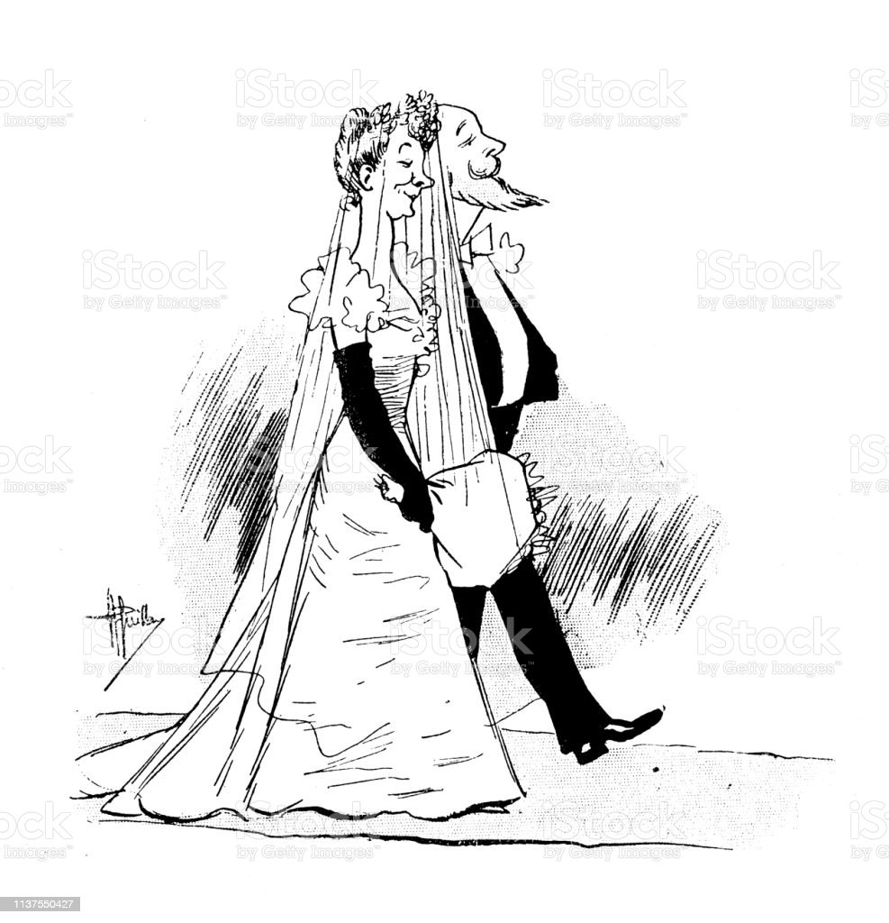 Illustration De Dessin Animé Humour Antique Mariage Vecteurs