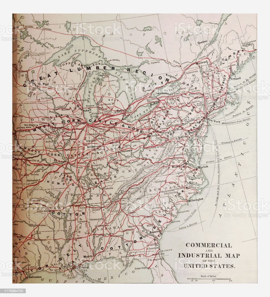 Antique Illustration 1878 Geography Commercial And Industrial Map Of Eastern United States Stock Illustration Download Image Now Istock