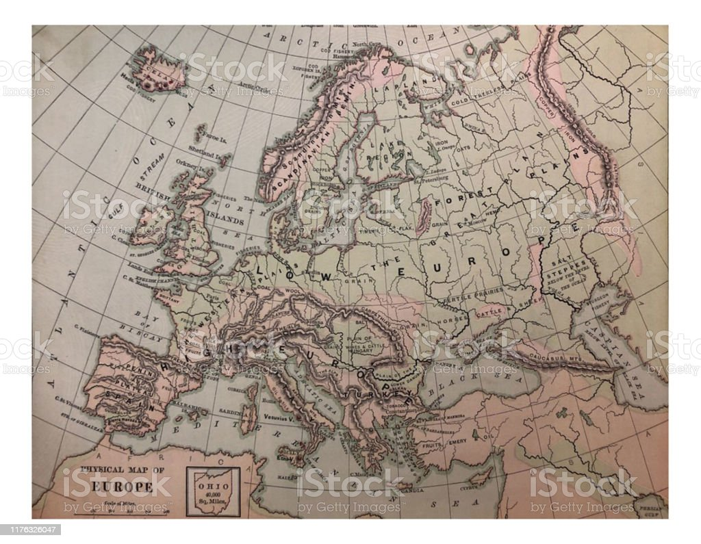 Image of: Antique Illustration 1878 Geography Physical Map Of Europe Stock Illustration Download Image Now Istock