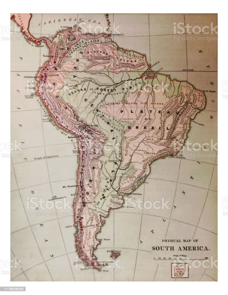 Image of: Antique Illustration 1878 Geography Physical Map Of South America Stock Illustration Download Image Now Istock