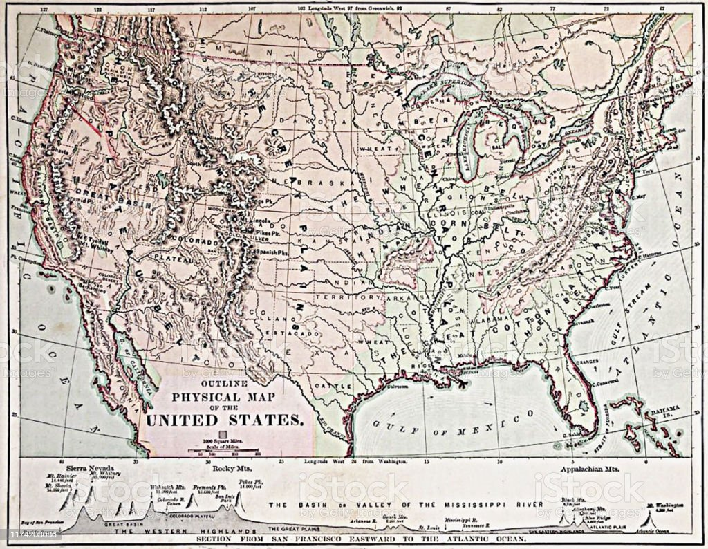 Antique Illustration 1878 Geography Physical Map Of The ...