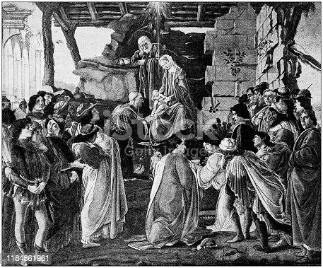 Antique illustration: Adoration of the Magi (Botticelli)