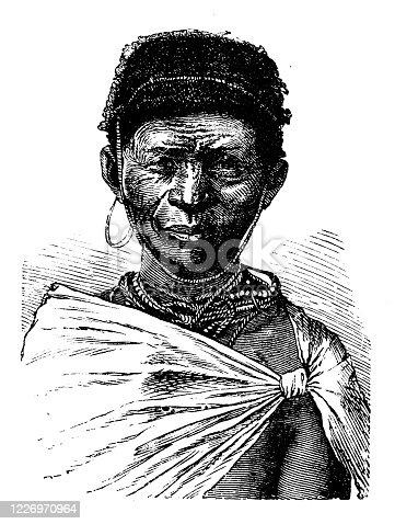 istock Antique illustration: African native, Bushmen (San people) 1226970964