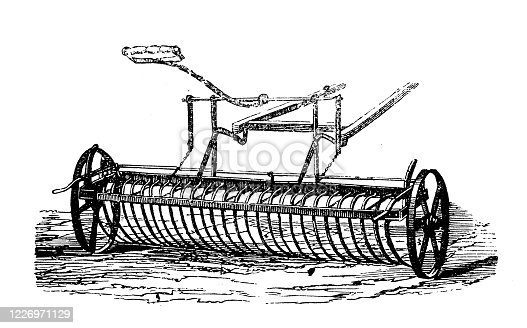 istock Antique illustration: Agricultural machinery 1226971129