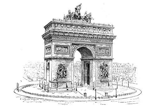 Antique illustration: Arc de Triomphe de l'Etoile, Paris