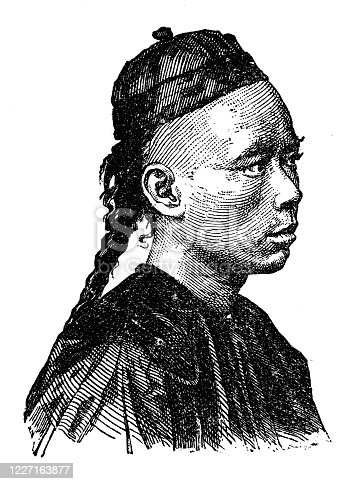 Antique illustration: Asian and European native, Chinese man