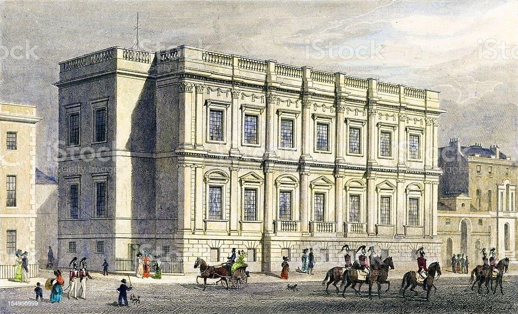 Antique illustration: Banqueting House, Whitehall, London (1829) vector art illustration