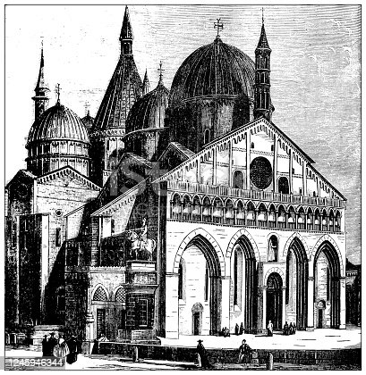 istock Antique illustration: Basilica di Sant'Antonio, Padova 1245946344