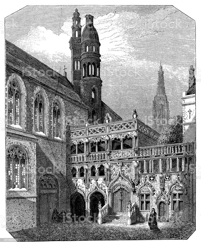 Antique illustration Basilica of the Holy Blood, Bruges, Belgium vector art illustration