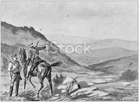Antique illustration: Battle of Majuba Hill, South Africa