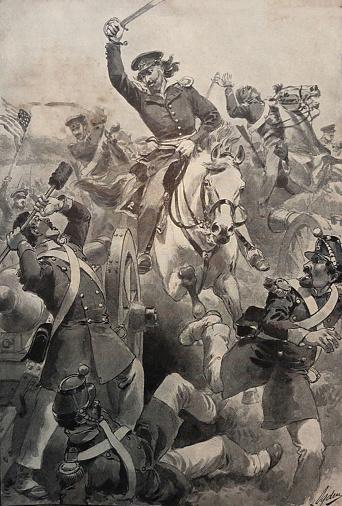 Antique illustration - Battle of Resaca de La Palma