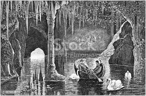 Antique illustration: Blue grotto in Linderhoff
