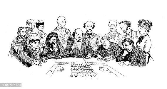 Antique illustration by Randolph Caldecott: At the casino