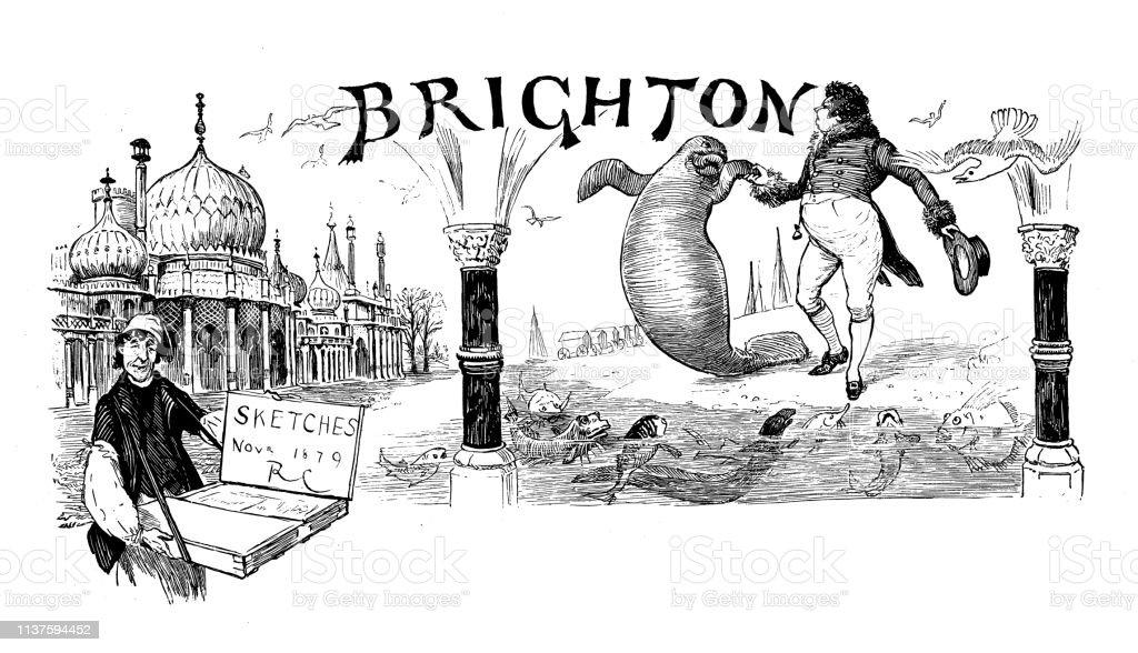 Antique illustration by Randolph Caldecott: Brighton vector art illustration