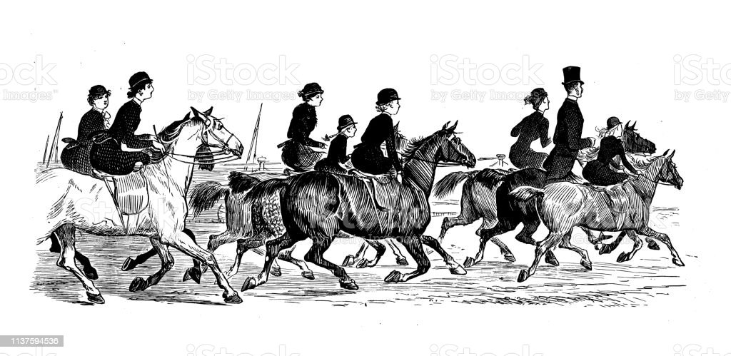 Antique illustration by Randolph Caldecott: Horse on beach, Brighton vector art illustration