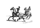 Antique illustration by Randolph Caldecott: Man on horses