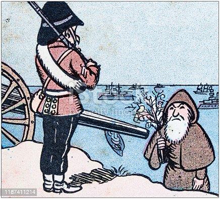Antique illustration: Christmas story cartoon comic