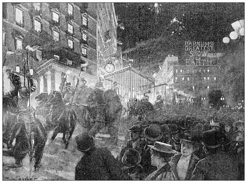 Antique illustration: Circus in the city
