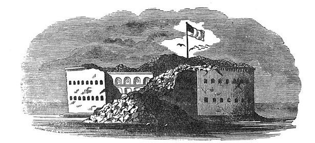 Antique illustration - Civil War - View of Fort Sumter