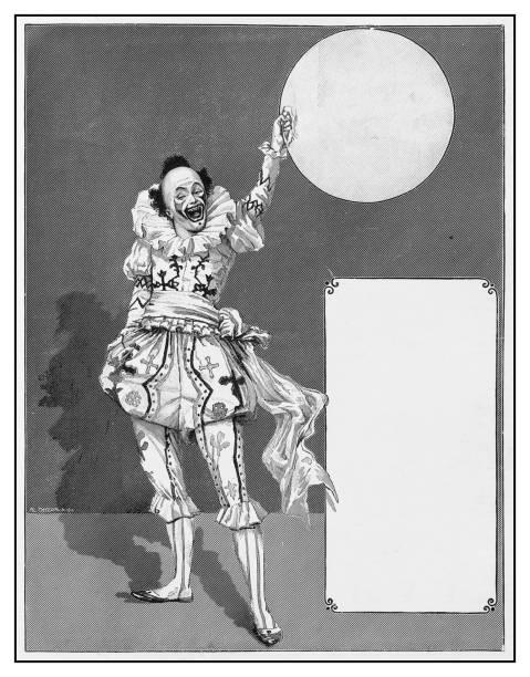 Antique illustration: Clown vector art illustration